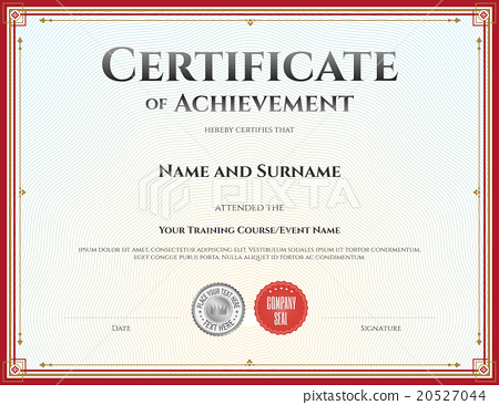 Certificate Of Achievement Template In Vector - Stock Illustration