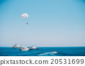 Parasailing in open sea. Water sports 20531699