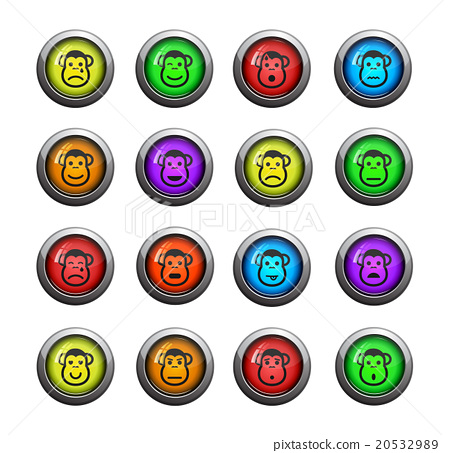 Stock Illustration: Monkey emotions simply icons