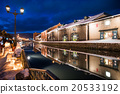 otaru canal, otaru, snow light path 20533192