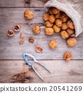 Walnuts kernels in hemp sack . 20541269