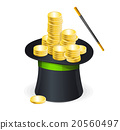 Magic hat vector and gold coins 20560497