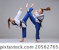 The collage of karate girl with black belt 20562765
