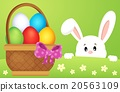 Lurking Easter bunny by basket with eggs 20563109
