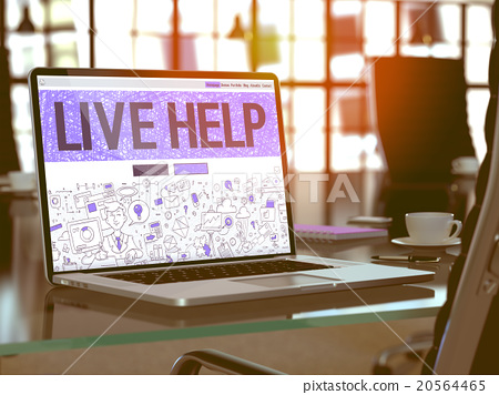 Live Help Concept on Laptop Screen. 20564465