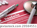 Headache - Printed Diagnosis on Red Background. 20564551
