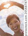 Chinese Asian Woman Girl Hand Heart Finger Frame 20568787