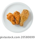 Top View of Fried Chicken Wings on White Dish 20580699