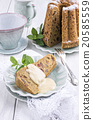 plumpudding cake with vanilla sauce 20585559