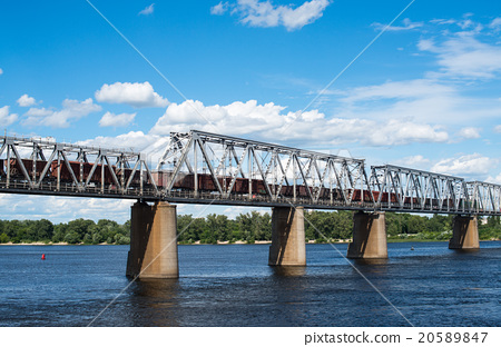 Railroad bridge  with freight train 20589847