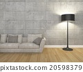 living room with sofa and floor lamp ,3d rendering 20598379