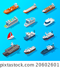 Ships Boats Vessels Isometric Icon Set  20602601