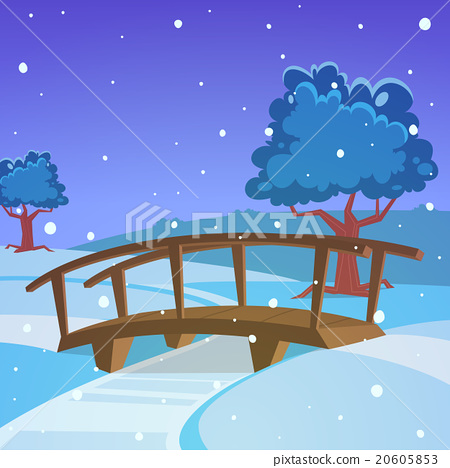 Stock Illustration: Winter landscape with bridge