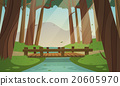 Small wooden bridge in the woods 20605970