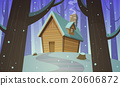 vector, snow, house 20606872