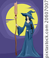 Witch Girl Broom Cat Full Moon 20607007