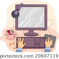 Hands Computer Mess Sticky 20607119