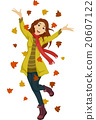 Happy Teen Girl Autumn Leaves 20607122