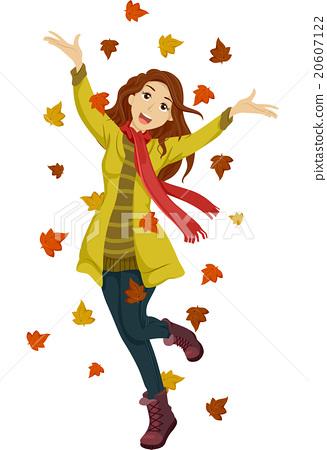 Happy Teen Girl Autumn Leaves 20607122