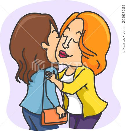 Girls Greet Kiss Cheeks 20607283
