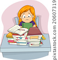 Kid Girl Sad Piled Homework Stressed 20607319