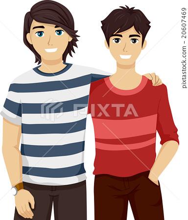 Teen Guys Bestfriends Side by Side 20607469
