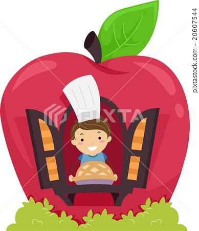 Stickman Kid Boy Apple Pie Bakery Show 20607544