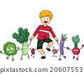 Kid Boy Healthy Food Mascots Walking 20607553
