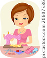 Sewing Girl Make Cloth Napkin 20607586