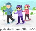 Stickman Teenagers Snow Walking 20607655