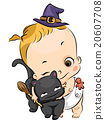 Kid Girl Toddler Witch Black Cat Hug 20607708