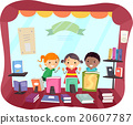 Stickman Kids Book Store Window Peek 20607787