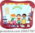 Stickman Kids Book Store Window Peek 20607787