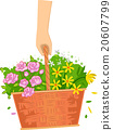Cropped Hand Flowers Basket 20607799