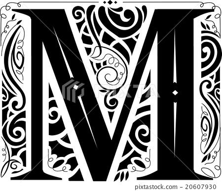 Vintage Monogram Letter M Stock Illustration 20607930 Pixta