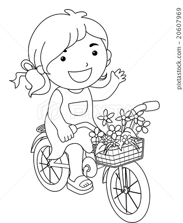line art kid girl flower bicycle color page