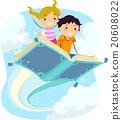 Stickman Kids Magical Book Flying 20608022