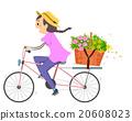 Girl Stickman Bike Flower Basket Deliver 20608023