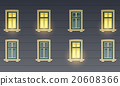 Retro Building Facade At Night 20608366