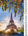 Eiffel Tower with spring tree in Paris, France 20622954
