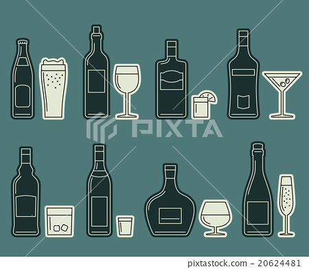 Bottles and glasses vector icons. 20624481