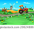 Funny landscape with tractor on the road 20624886