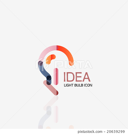 Logo, vector light bulb abstract linear geometric - Stock