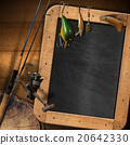 Fishing Tackle with Empty Blackboard 20642330