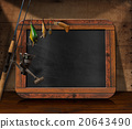 Fishing Tackle with Empty Blackboard 20643490