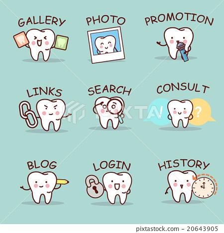cute cartoon tooth set 20643905