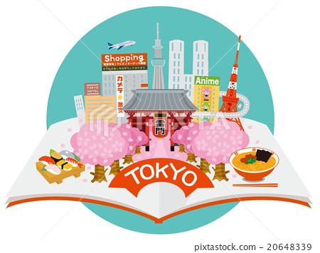 从已打开的书,东京观光小镇Aozora Maru的形象 20648339