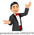3D Tuxedo man presenting something with hands up 20650479