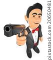 3D Secret agent aiming with a gun 20650481