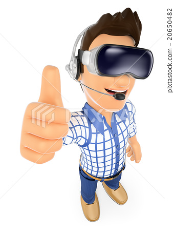 3D Young teen with virtual reality glasses. VR 20650482
